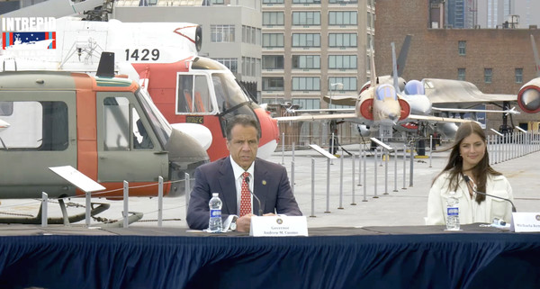 Intrepid Sea, Air & Space Museum Hosts Virtual Memorial Day Ceremony [vehicle,helicopter,aerospace engineering,job,rotorcraft,aircraft,governor,andrew cuomo,michaela cuomo,screengrab,aircraft,aviation,intrepid sea,new york,air space museum hosts virtual memorial day ceremony,memorial day,aircraft,aviation,dax daily hedged nr gbp]