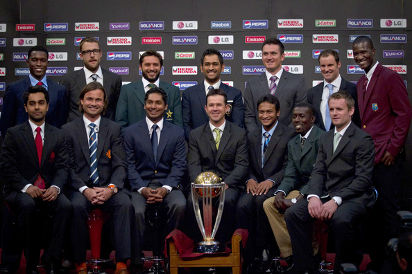 Andrew Strauss (L-R) (Back row) Captains Elton Chigumburu of Zimbabwe, Daniel Vettori of New Zealand, Shahid Afridi of Pakistan, Mahendra Singh Dhoni of India, Graeme Smith of South Africa, Andrew Strauss of England, Darren Sammy of West Indies, (Front row) Ashish Bagai of Canada, Bas Zuiderent of the Netherlands, Kumar Sangakkara of Sri Lanka, Ricky Ponting of Australia, Shakib Al Hasan of Bangladesh, Jimmy Kamande of Kenya and William Porterfield of Ireland pose for media during the Captain's Press Conference at the Dhaka Sheraton Hotel ahead of the opening ceremony for the 2011 ICC World Cup on February 17, 2011 in Dhaka, Bangladesh.