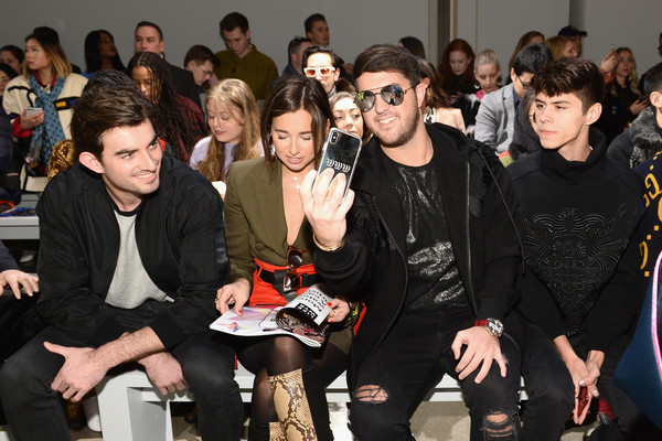 Taoray Wang - Front Row - February 2019 - New York Fashion Week: The Shows [shows,event,fashion,fashion design,audience,taoray wang - front row,taoray wang,danielle bernstein,jackson krecioch,andrew warren,conor kennedy,the shows at gallery ii,l-r,new york fashion week]