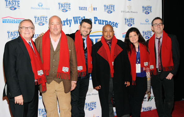 23rd Annual Super Bowl Party With A Purpose [event,award,team,stage equipment,purpose,l-r,annual super bowl party,annual super bowl party with a purpose,wayne kostroski,daymond john,alex guarnaschelli,andrew zimmern,adam richman,ted allen]