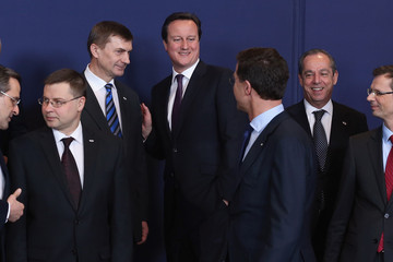 Andrus Ansip Prime Minister David Cameron Attends The European Council Meetings In Brussels