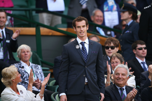 Andy Murray Andy Murray of Great Britain attends the Gentlemen's Singles third round match between Richard Gasquet of France and Bernard Tomic of Australia on day six of the Wimbledon Lawn Tennis Championships at the All England Lawn Tennis and Croquet Club on June 29, 2013 in London, England.