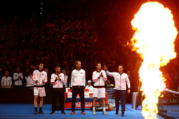 Andy Murray Daniel Evans Great Britain v Japan - Davis Cup: Day Two