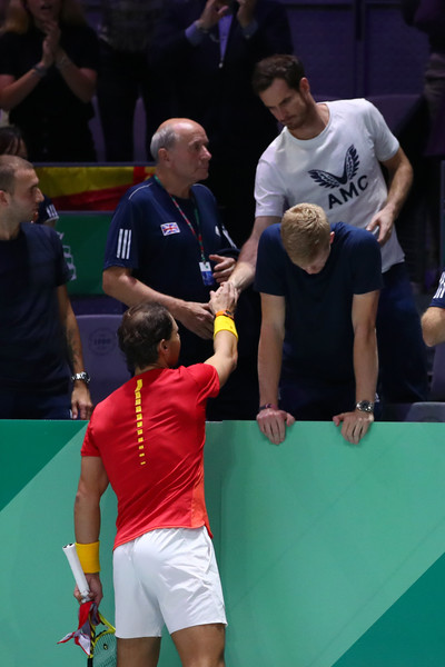 Great Britain Compete For 2019 Davis Cup [sports,tennis,ball game,racquet sport,championship,competition event,tournament,player,sports equipment,badminton,rafael nadal,andy murray,jamie murray,feliciano lopez,great britain compete,semi-final doubles match,hand,spain,great britain,davis cup]