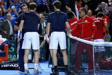 Andy Murray Leon Smith Great Britain v Japan - Davis Cup: Day Two