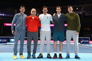 Tim Henman, Mansour Bahrami, Roger Federer, Andy Murray and Jamie Murray pose for photos during Andy Murray Live at The Hydro on November 7, 2017 in Glasgow, Scotland.