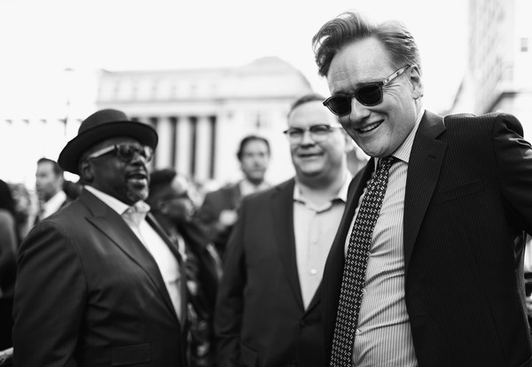 Turner Upfront 2017 - Arrivals [image,white,photograph,black,monochrome,black-and-white,white-collar worker,event,monochrome photography,suit,businessperson,arrivals,andy richter,conan obrien,cedric the entertainer,turner upfront 2017,l-r,red carpet,turner upfront,arrivals]