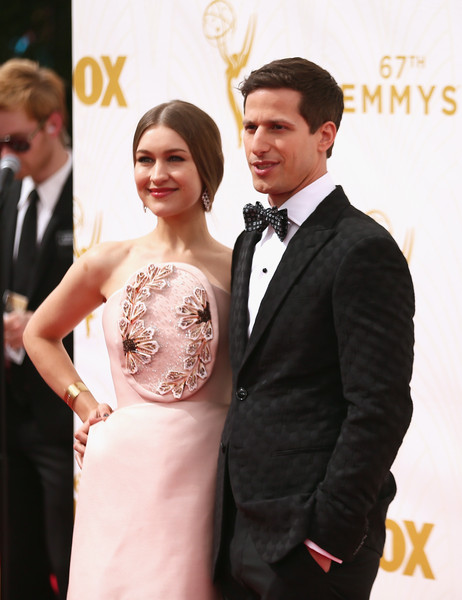 67th Annual Primetime Emmy Awards - Arrivals [formal wear,suit,dress,red carpet,gown,carpet,tuxedo,hairstyle,event,fashion,arrivals,joanna newsom,andy samberg,california,los angeles,microsoft theater,l,primetime emmy awards]