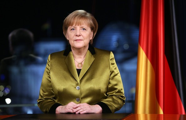 Angela Merkel Holds New Year's Address [angela merkel holds new year,angela merkel,address,moments,chancellery,television address,priorities,challenges,spokesperson,speech,official,public speaking,newscaster,event,television presenter,speaker,orator,german,nation]