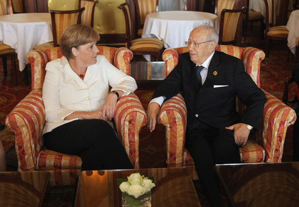 Angela Merkel and Beji Caid Essebsi - World Leaders Attend G8 Summit 2011 in Deauville
