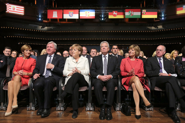 Germany Celebrates 25 Years Since Reunification [event,social group,audience,team,formal wear,auditorium,angela merkel,joachim gauck,volker bouffier,ursual bouffier,incomes,reunification,west germany,reunification,events,end]