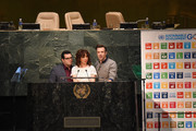 """(L-R) Actors Josh Gad, Maya Rudolph and Jason Sudeikis speak on stage during the United Nations Ceremony, Presentation and Photo Call naming Red, from the """"ANGRY BIRDS"""" movie, Honorary Ambassador for the International Day of Happiness, to be observed around the world on March 20th, at United Nations on March 18, 2016 in New York City."""