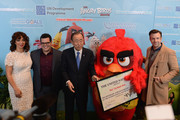 """(L-R) Maya Rudolph, Josh Gad, Mr. Ban Ki-Moon, 'Red' and Jason Sudeikis attend the United Nations Ceremony, Presentation and Photo Call naming Red, from the """"ANGRY BIRDS"""" movie, Honorary Ambassador for the International Day of Happiness, to be observed around the world on March 20th, at United Nations on March 18, 2016 in New York City."""