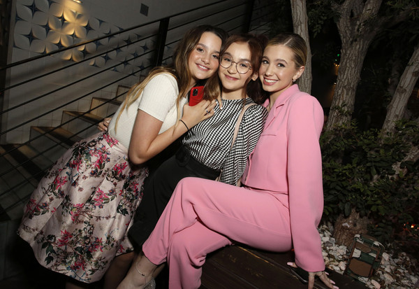 """Netflix Premiere of """"All the Bright Places"""" [photograph,people,pink,lady,beauty,fun,friendship,smile,photography,sitting,lilia buckingham,anna cathcart,annie leblanc,l-r,bright places,california,hollywood,netflix,premiere,snapshot,photography,portrait photography,photo shoot,portrait,pink m,socialite,beauty.m]"""