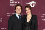 """Jason Ritter (L) and Melanie Lynskey attend the Annenberg Space for Photography's """"Not An Ostrich"""" Exhibit Opening Party at the Annenberg Space For Photography on April 19, 2018 in Century City, California."""