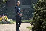 Mark Zuckerberg, chief executive officer of Facebook, attends the annual Allen & Company Sun Valley Conference, July 13, 2018 in Sun Valley, Idaho. Every July, some of the world's most wealthy and powerful businesspeople from the media, finance, technology and political spheres converge at the Sun Valley Resort for the exclusive weeklong conference.
