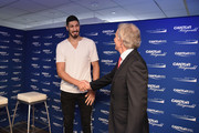 Enes Kanter (L) and Tony Blair attend the Annual Charity Day hosted by Cantor Fitzgerald, BGC and GFI at Cantor Fitzgerald on September 11, 2018 in New York City.