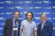 Johnny Damon (c) and Jim Leyritz (r) attend the Annual Charity Day Hosted By Cantor Fitzgerald, BGC and GFI on September 11, 2019 in New York City.