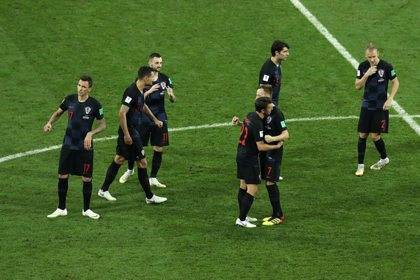 Russia v Croatia: Quarter Final - 2018 FIFA World Cup Russia [player,sports,team sport,ball game,sport venue,football player,soccer player,team,soccer,sports equipment,quarter final - 2018 fifa world cup,sides victory,match,2018 fifa world cup,russia quarter final,croatia,russia,fisht stadium,sochi,players]