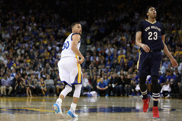 Anthony Davis Stephen Curry New Orleans Pelicans v Golden State Warriors
