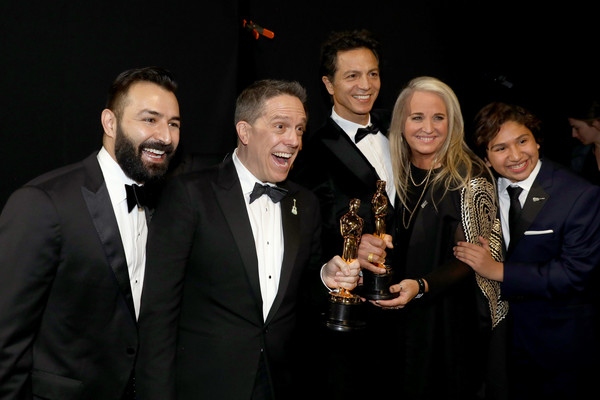 90th Annual Academy Awards - Backstage [handout,event,suit,award,formal wear,photography,night,tuxedo,award ceremony,adrian molina,benjamin bratt,lee unkrich,darla k. anderson,anthony gonzalez,backstage,academy awards,dolby theatre,a.m.p.a.s.]