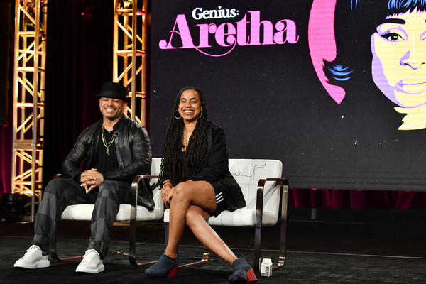2020 Winter TCA Tour - Day 11 [genius: aretha,talent show,event,performance,stage,anthony hemingway,suzan-lori parks,pasadena,california,the langham huntington,national geographic panel,winter tca,segment,winter tca press tour,anthony hemingway,television,photography,image,stock photography,photograph,getty images,royalty-free,american genius]
