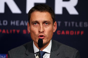 David Higgins attend an Anthony Joshua and Joseph Parker press conference at SKY Studios on March 27, 2018 in London, England.