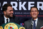 Eddie Hearn (l) and David Higgins attend an Anthony Joshua and Joseph Parker press conference at SKY Studios on March 27, 2018 in London, England.