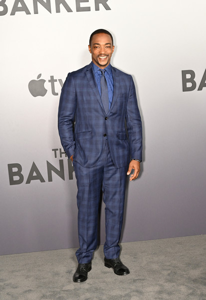 """The Banker"" Premiere at the National Civil Rights Museum [the banker premiere,suit,clothing,formal wear,premiere,outerwear,human,white-collar worker,tuxedo,carpet,blazer,anthony mackie,tv,national civil rights museum,theaters,tennessee,memphis,apple,world premiere,tuxedo m.,socialite,tuxedo,celebrity,denim,apple]"