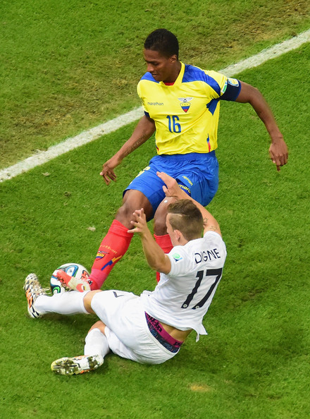 Ecuador v France: Group E [player,sports,team sport,football player,football,soccer player,sports equipment,sport venue,ball game,soccer,lucas digne,antonio valencia,challenges,ecuador,france,valencia,maracana,france: group e,2014 fifa world cup brazil group e,match]