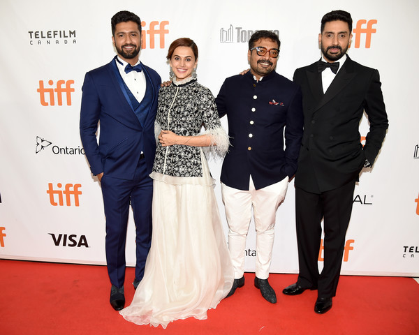 2018 Toronto International Film Festival - 'Husband Material' Premiere - Red Carpet [husband material,red carpet,carpet,event,suit,premiere,fashion,formal wear,flooring,dress,tuxedo,anurag kashyap,tapsee pannu,abhishek bachchan,vicky kaushal,l-r,roy thomson hall,red carpet,toronto international film festival,premiere]