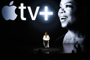 Oprah Winfrey speaks during an Apple product launch event at the Steve Jobs Theater at Apple Park on March 25, 2019 in Cupertino, California. Apple announced the launch of it's new video streaming service, unveiled a premium subscription tier to its News app, and announced  it would release its own credit card, called Apple Card.