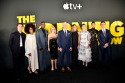 """(L-R) Karen Pittman, Desean, Reese Witherspoon, Apple CEO Tim Cook, Jennifer Aniston, Bel Powley, Janina Gavankar and Billy Crudup attend the Apple TV+'s """"The Morning Show"""" World Premiere at David Geffen Hall on October 28, 2019 in New York City."""