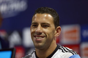 Maxi Rodriguez of Argentina during a press conference at Cidade do Galo on June 28, 2014 in Vespasiano, Brazil.