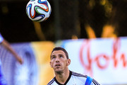 Maxi Rodriguez of Argentina controls the ball during the Argentina training session at Cidade do Galo on July 6, 2014 in Vespasiano, Brazil.