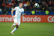 Angel Di Maria of Argentina controls the ball during the Copa America Brazil 2019 Third Place match between Argentina and Chile at Arena Corinthians on July 06, 2019 in Sao Paulo, Brazil.