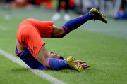 Radamel Falcao of Colombia falls to the ground during the Copa America Brazil 2019 group B match between Argentina and Colombia at Arena Fonte Nova on June 15, 2019 in Salvador, Brazil.