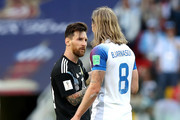 Lionel Messi of Argentina talks to Birkir Bjarnason of Iceland during the 2018 FIFA World Cup Russia group D match between Argentina and Iceland at Spartak Stadium on June 16, 2018 in Moscow, Russia.