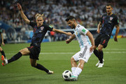 Sergio Aguero of Argentina attempts to shoot past Domagoj Vida of Croatia during the 2018 FIFA World Cup Russia group D match between Argentina and Croatia at Nizhniy Novgorod Stadium on June 21, 2018 in Nizhniy Novgorod, Russia.