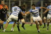Sam Cane of New Zealand is tackled by Javier Ortega Desio of Argentina during a match between Argentina and New Zealand as part of The Rugby Championship 2018 at Jose Amalfitani Stadium on September 29, 2018 in Liniers, Argentina.
