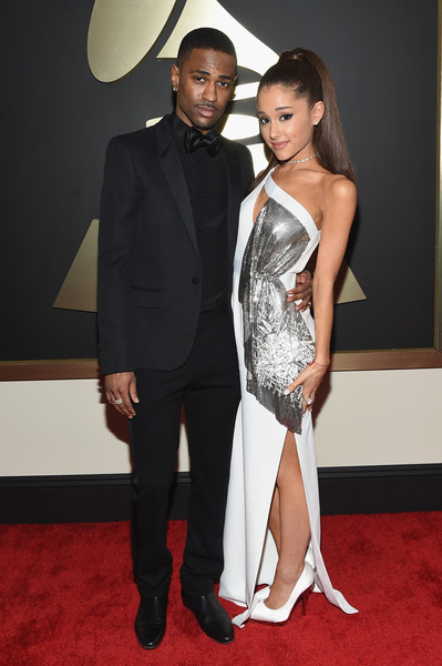 The 57th Annual GRAMMY Awards - Red Carpet [red carpet,red carpet,carpet,clothing,suit,dress,formal wear,fashion,flooring,tuxedo,event,big sean,ariana grande,california,los angeles,staples center,57th annual grammy awards,the 57th annual grammy awards]