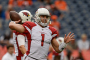 Quarterback Trevor Knight #1 of the Arizona Cardinals warms up before a preseason NFL game against the Denver Broncos at Sports Authority Field at Mile High on August 31, 2017 in Denver, Colorado.