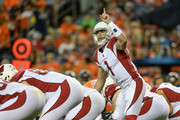 Quarterback Trevor Knight #1 of the Arizona Cardinals runs the offense against the Denver Broncos in the second quarter during a preseason NFL game at Sports Authority Field at Mile High on August 31, 2017 in Denver, Colorado.
