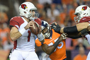 Quarterback Trevor Knight #1 of the Arizona Cardinals looks to pass against the against the Denver Broncos in the first half during a preseason NFL game at Sports Authority Field at Mile High on August 31, 2017 in Denver, Colorado.
