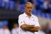 Head coach Chuck Pagano of the Indianapolis Colts looks on prior to the game against the Arizona Cardinals at Lucas Oil Stadium on September 17, 2017 in Indianapolis, Indiana.