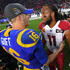 Larry Fitzgerald Photos - Quarterback Jared Goff #16 of the Los Angeles Rams is greeted by wide receiver Larry Fitzgerald #11 of the Arizona Cardinals after the game at the Los Angeles Memorial Coliseum on December 29, 2019 in Los Angeles, California. - Arizona Cardinals vLos Angeles Rams