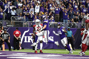Kirk Cousins #8 of the Minnesota Vikings runs into the end zone with the ball for a touchdown in the third quarter of the game against the Arizona Cardinals at U.S. Bank Stadium on October 14, 2018 in Minneapolis, Minnesota.