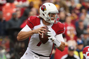 Quarterback Blaine Gabbert #7 of the Arizona Cardinals runs with the ball in the first quarter against the Washington Redskins at FedEx Field on December 17, 2017 in Landover, Maryland.