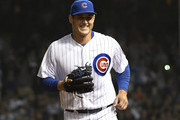 Anthony Rizzo #44 first baseman of the Chicago Cubs  smiles after he pitched and got the final out against the Arizona Diamondbacks during the ninth inning on July 23, 2018 at Wrigley Field in Chicago, Illinois. The Diamondbacks won 7-1.
