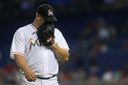 Brad Penny #33 of the Miami Marlins reacts after giving up a run during a game against the Arizona Diamondbacks at Marlins Park on August 14, 2014 in Miami, Florida.